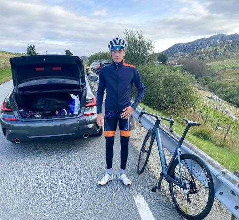 Karl Emil Kjeldsand har debutert i Norgescup landevei i Sandnes og Jæren. Tempo og fellesstart