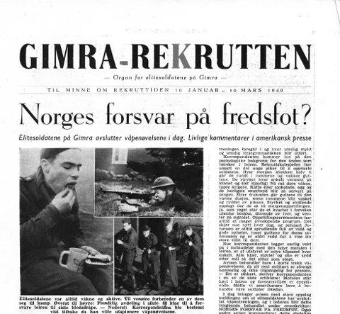 Slik så forsiden ut på leir-avisen «Gimra-rekrutten» våren 1949.