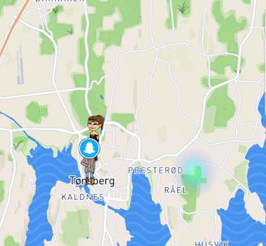 NY OPPDATERING: Snapchat har fått en ny funksjon, der den blå-grønne flekken til høyre på kartet markerer offentlige My Storyer. Har du husket å skru på private innstillinger?