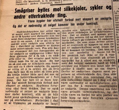 GRIS: Smågris var en ettertrakted matvare i 1943. Faksimile fra avisen Hadeland.