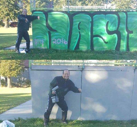 NEI TIL NARKOTIKA: Øivind Strøm ønsket ikke hasjreklame i skateparken. han tok saken i egne hender og malte over.