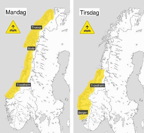 FAREVARSEL: Meteorologisk institutt har sendt ut farevarsel for store deler av kysten av Norge – helt opp til Nordkapp.
