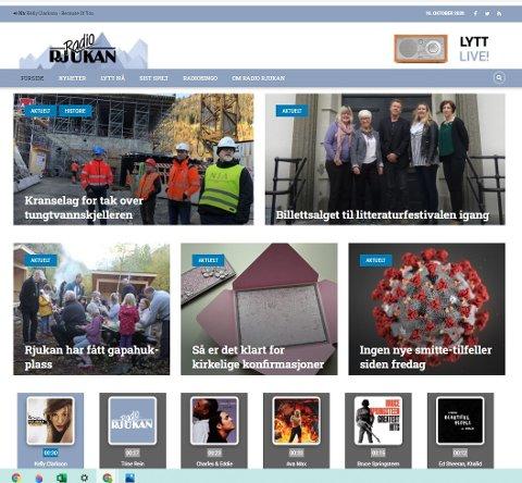 NETTSIDA: Slik ser radio rjukans nye nettside ut med første øyekast, nettradioen er øverst til høyre.