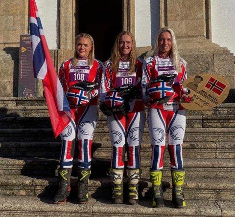 VM-BRONSE: Det norske laget tok en sterk bronsemedalje i VM. Laget besto av Huldeborg Barkved, Ingveig Håkonsen og Seline Meling.