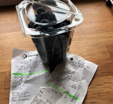 PRISHOPP: Denne kurven med blåbær koster 30 kroner på Coop Extra på Tjøme, og 66 kroner på Joker Hvasser.