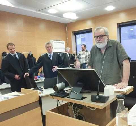 Nekter straffskyld: Tilbake i vitneboksen argumenterer Kjell Gunnar Larsen for at hans og lokallagets disposisjoner ikke er straffbare. Arkivfoto: Ruth Sunnanå Sveistrup