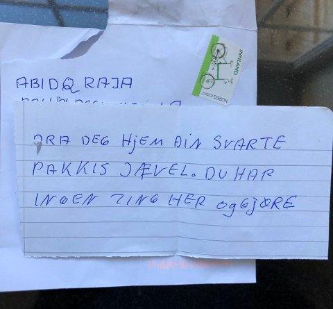 Bilde fra twitterfeeden til Abid Raja, av brev han skal ha mottat etter den siste tidens diskusjon om bruk av begreper i det politiske ordskiftet. Foto: Twitter/Abid Raja / NTB scanpix