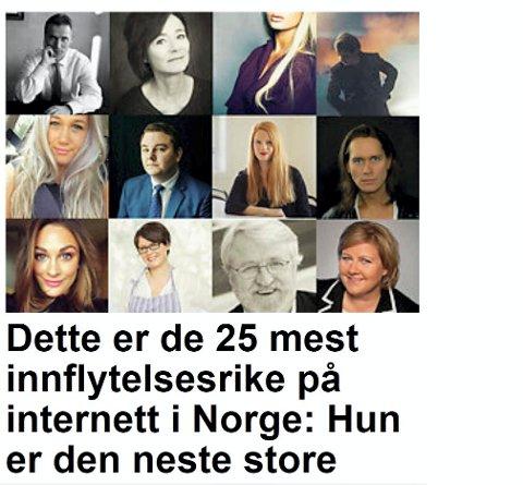 NASJONAL KÅRING: 25 kjente personer er plukket ut av Nettavisen til den celebre lista. På fronten figurerer PelleK t.h.