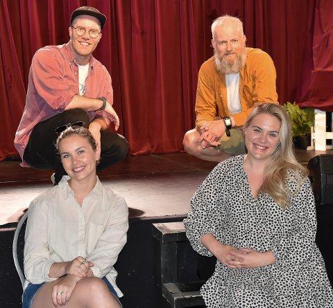 SNEHVIT-GJENGEN: Ingrid Aspaas (til venstre foran), Mari Dodd Kjølstad, Sivert Hauge (venstre bak) og Håkon Moe forbereder seg til familiemusikalen Snehvit i Fon-teltet. Musikalen har premiere 27. juni. FOTO: Vibeke Bjerkaas