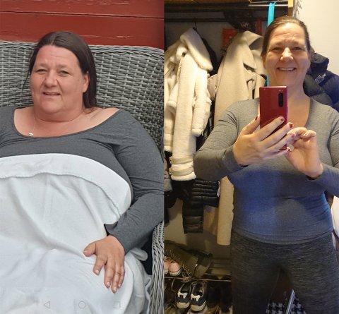 STOLT: Nina Olsen er strålende fornøyd og stolt med å ha gått ned 45 kilo i 2020.
