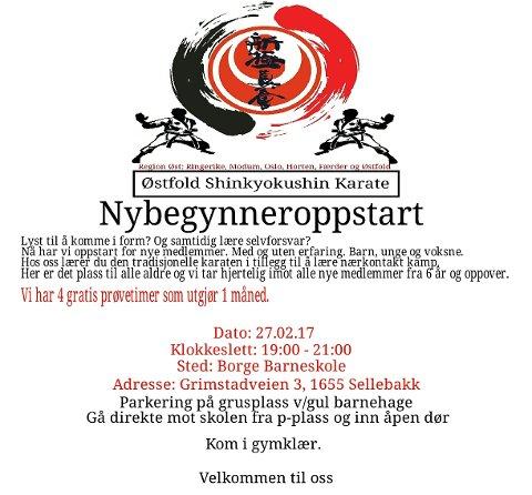 Oppstart Østfold Shinkyokushin Karate