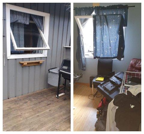 Tyven har kommet seg inn i huset via soveromsvinduet der vedkommende blant annet veltet en TV.