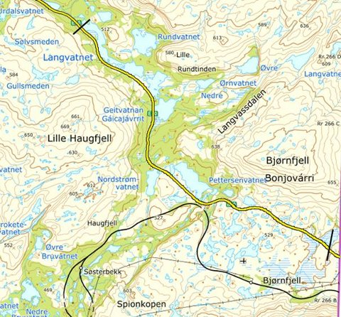 E10 BJØRNFJELL: Som vanlig blir det nedsatt fartsgrense på Bjørnfjell rundt påske. Fartsgrensen gjelder mellom de to svarte strekene.