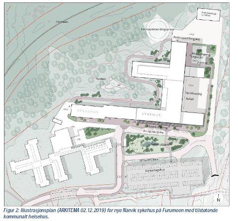 PLASSERING: Illustrasjonen viser hvordan det nye sykehuset blir plassert i forhold til sykehjemmet og landingsplassen for helikopter.