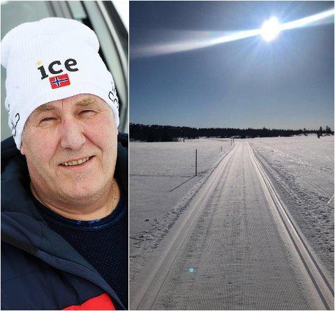 ÉN METER SNØ: Slike forhold venter fortsatt på Sjusjøen, slik Johannes Haukåssveen fotograferte skiløypene fra løypemaskinen 5. mai.