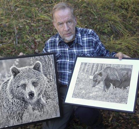 BJØRN: Etter over 250 timers venting tok Kjell Ivar Wålberg dette portrettet av en ung hannbjørn grytidlig en morgen, mens et automatisk kamera sørget for å dokumentere bjørnen som kom hjem til ham da han var i Sverige.