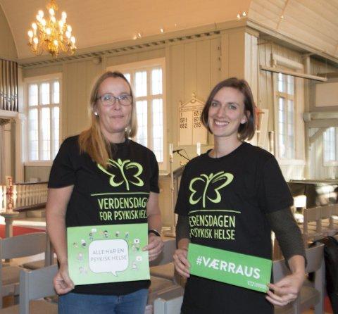 MENTAL HELSE: Vinger menighet inviterer til lokal veldedighetskonsert på verdensdagen for mental helse kommende onsdag. Heidi Iren Pettersen (til venstre) og kantor Berit Billingsø slår et slag for raushet.