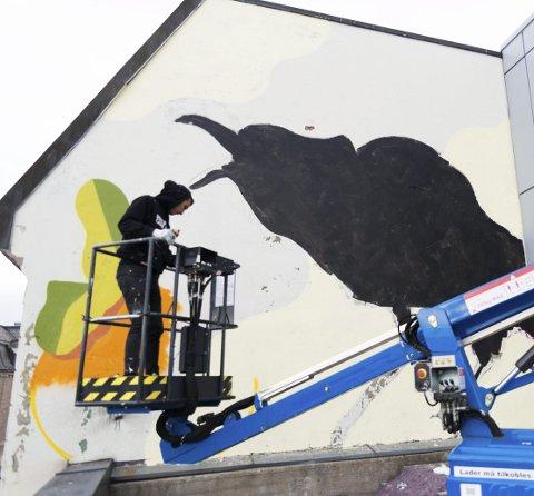 KRÅKE: Kunstneren Sabek i ferd med å male en kråke på veggen på Singergården på taket av Grandsenteret.
