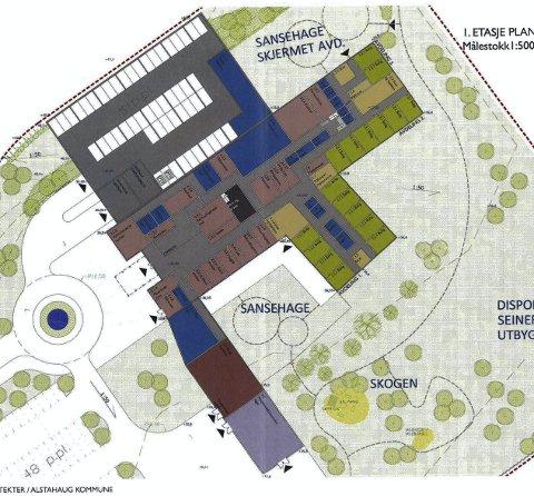 UTBYGGING PÅ VENT: – Invensteringer i skolesektoren gjør at sykehjemmet som er planlagt på Karlsenmarka er utsatt på ubestemt tid, påpeker lederen i Alstahaug Arbeiderparti. Illustrasjon: Rampoll arkitekter