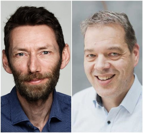 TRYGT Å DELE: Christian Haraldsen, kommunikasjonssjef i Gjensidige Forsikring, og Ole Irgens, kommunikasjonssjef i Tryg, sier de ikke kjenner til tilfeller hvor man kan spore innbruddet tilbake til sosiale medier. Foto: Gjensidige/Tryg