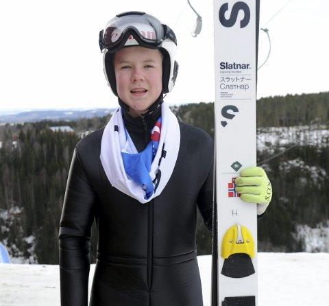 I TOPPEN: Leander Tandberg (14) i Botne skiklubb, gjorde en god figur i Hovedlandsrennet og er godt fornøyd med fremgangen han har hatt i vinter. Foto: Svein Halvor Moe