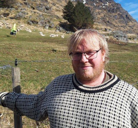 Anders Nilsen driver sauebruk på Reppe på Vestvågøy.
