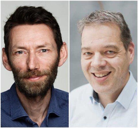 TRYGT Å DELE: Christian Haraldsen, kommunikasjonssjef i Gjensidige Forsikring, og Ole Irgens, kommunikasjonssjef i Tryg, sier de ikke kjenner til tilfeller hvor man kan spore innbruddet tilbake til sosiale medier.