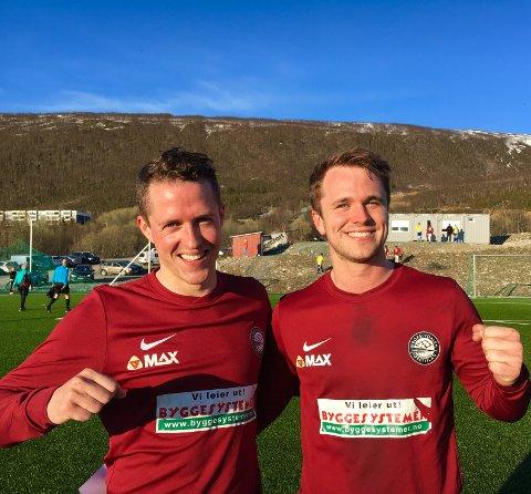 MÅLGARANTISTER: Mats Aleksander Tunstad (til venstre) og Aleksander Lenning i Krokelvdalen IL.