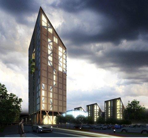 Fyrtårn: Mjøstårnet vil være et fyrtårn, både for Brumunddal, Ringsaker og Innlandets treindustri. Illustrasjon: Voll arkitekter as