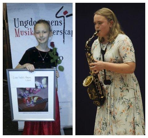 KVALIFISERT: Luna Isabell Hansen Lopez (til venstre) og Celine Kjærstad Danielsen skal konkurrere på nasjonalt nivå i Ungdommens musikkmesterskap.
