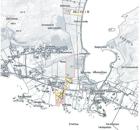 Kart over eigedommen i Bremanger. Det er utmarka som gjer at arealet blir så stort at det utøyser buplikt.