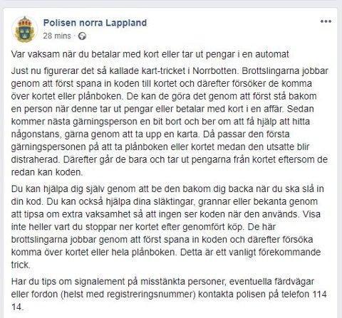 Skjermdump Polisen i Norrbottens Facebook-side.