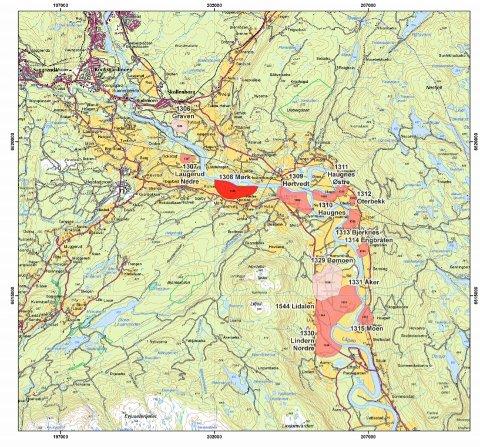 ØVRE: Det øverste kvikkleirefeltet langs Lågen ligger ved Gravenfoss nær Hedenstad. Det er ikke påvist slike masser lenger opp i dalen. Kartet viser faregradklasse for skred. Lyserød betyr lav risiko, og faregraden stiger med mørkere farge. Området med sterkest rødfarge ligger på eiendommene Mørk, Lindtvedt og Ristvedt.
