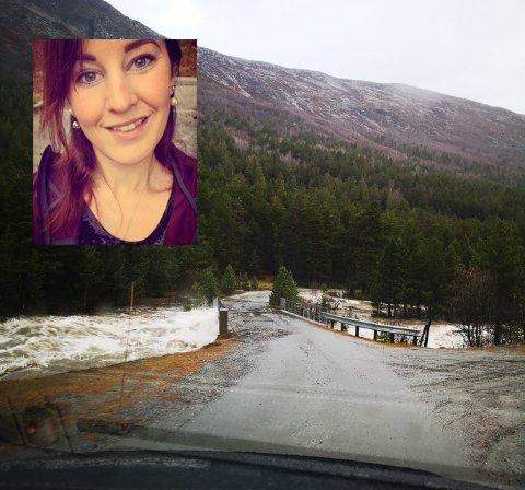 Laila Kristin Jøingsli kjørte over Dyringsbrua rett før den ble tatt med elva.