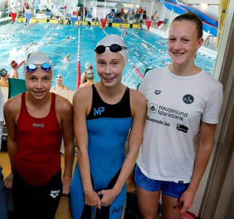 GODE PRESTASJONER: Mari Nilsen, Helene Vestre og Ingrid Leifsen fra Haugesund Svømmeklubb var blant flere lokale svømmere som presterte bra i Førde i helga.