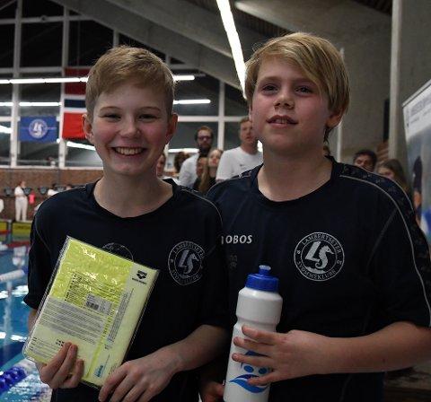 FLINKE: Christopher Augustsson og Timon Øverby gjorde begge en god innsats i bassenget.
