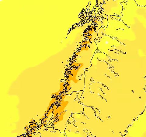 - Den mørkeste oransje fargen indikerer temperaturer over 20 grader (20-25 grader). Det er altså lørdag som peker seg ut temperaturmessig, men de andre dagene ligger det tett opp mot 20 grader. Det er ventet en del sol, så ikke umulig at det blir over 20 grader også, forklarer Cecilie Villanger, meteorolog i Storm.