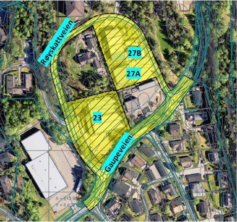 Gaupeveien Eiendom AS ønsker å bygge boliger på eiendommen i Gaupeveien 23 i Ytre Enebakk. Et planprogram, som også omfatter eiendommene i Gaupeveien 27A og 27B, er sendt til kommunen. Planområdet er vist som gul flate.