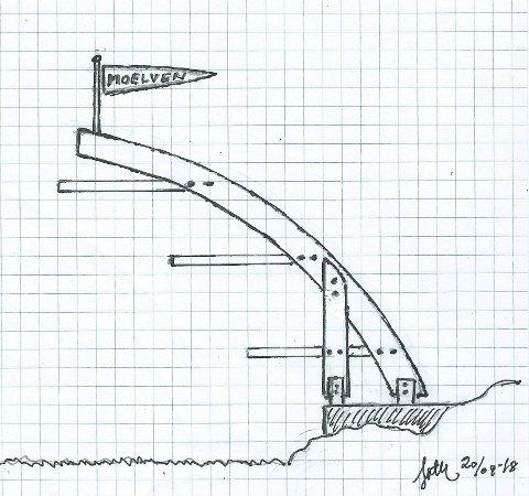 Johannes Thue har selv tegnet denne prinsippskissen over en stupetårn som skiller seg sterkt fra det som er vedtatt i utforming, materialvalg og pris.