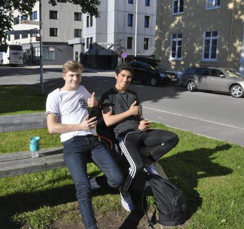 Rutinerte: I parken sitter også pokemontrenerne Torje Paulsen (18) og Dennis Finholt (17). Telefonene er koblet til powerbank i lomma.
