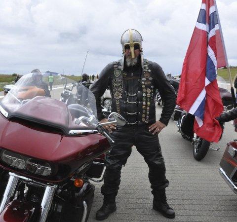 Høvding: Vikingehøvdingen Knut-Bjarne Klaussen var kjempefornøyd med hvordan Harley-treffet ble.