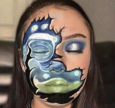 VAN GOGH: Aud (16) gjenskaper maleriet «Stjernenatt» av Van Gogh. Foto: Privat