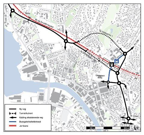 Velger en kombinasjon av alternativ 2 og 3: På denne tegningen ser vi de tre veialternativene. Statens vegvesen dropper tunnel under Bratliparken, vist som alternativ 1 på tegningen, og går videre med en kombinasjon av 2 og 3. (Illustrasjon: Bane NOR)
