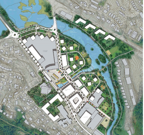 Dette er eit forslag til korleis Ålgård sentrum kan koma til å sjå ut. Illustrasjonen viser mogleg maksimal utbygging i samsvar med planen som no er vedteken.