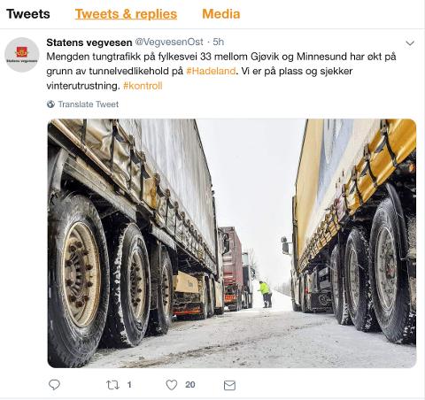 KONTROLL: Dette er tweeten som Statens Vegvesen la ut tirsdag.