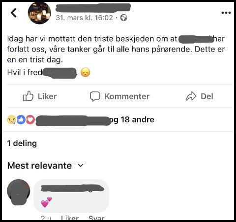 MYSTERIET: Dette la utestedet ut på siden sin på Facebook allerede søndag 31. mars, men den avdøde 75-åringen ble ikke funnet før lørdag 6. april. – Det er litt av mysteriet for oss, sier etterforskningsleder i politiet, Per-Oskar Rønningen.
