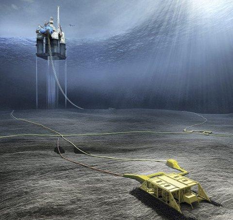 Dvalin er en havbunnsutbygging med fire brønner, knyttet opp mot Heidrun-plattformen, via en ny rørledning. (Illustrasjon: Dea)