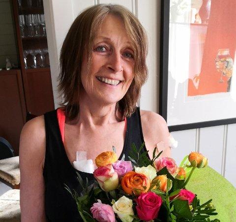 LETTET: Anne Grimstad Fjeld er lettet og takknemlig over å endelig ha mottatt første dose av koronavaksinen.