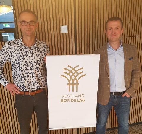 LEIARDUO: Anders Felde t.v. og Peder Nernæs t.h utgjer leiarduoen i Vestland Bondelag.
