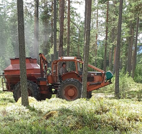 SPESIALMASKIN: Denne maskinen har spredd ut 100 tonn gjødsel i Solør-skoger i sommer.